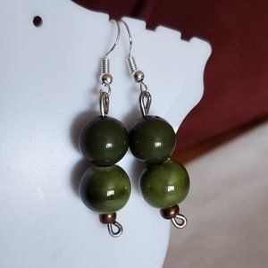 "1.5"" Silver Tone Hook Green Ceramic Bead Earrings"